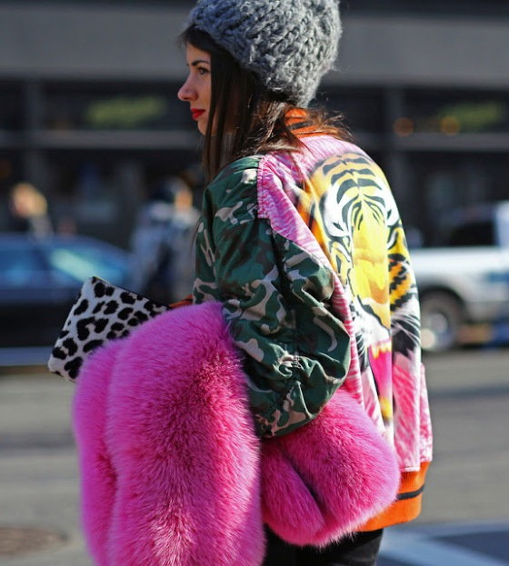 natasha-goldenberg-tiger-bomber-jacket-pink-fur-new-york-fashion-week-streetstyle-fall-2013